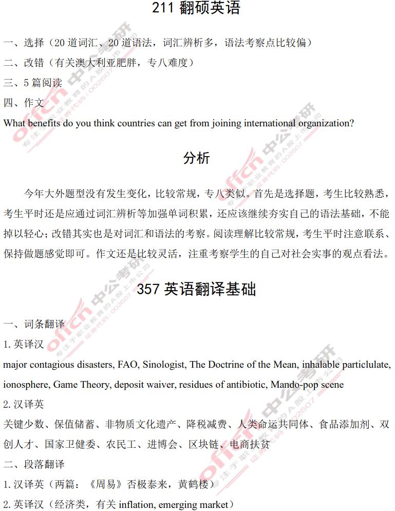 2021年大連外國語英語翻碩考研解析